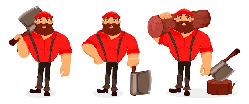 Lumberjack. Handsome logger. Cartoon character