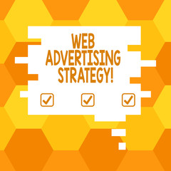 Handwriting text Web Advertising Strategy. Concept meaning uses existing social networks to promote a product Blank Color Speech Bubble in Puzzle Piece Shape photo for Presentation Ads