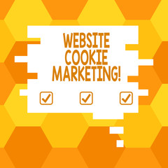 Handwriting text Website Cookie Marketing. Concept meaning information and insights of the webpage users Blank Color Speech Bubble in Puzzle Piece Shape photo for Presentation Ads