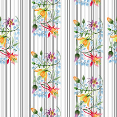Ornament floral botanical flower. Watercolour drawing fashion aquarelle isolated. Seamless background pattern.