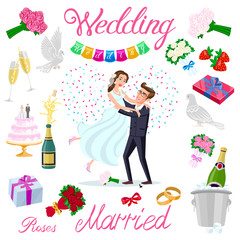 set vector wedding just married couple with hearts avatars characters. roses flowers champagne cake newlyweds pigeons gifts rings strawberry bow ice bubbles