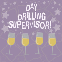 Writing note showing Day Drilling Supervisor. Business photo showcasing In charge of the drill operators at a quarry Filled Cocktail Wine Glasses with Scattered Stars as Confetti Stemware