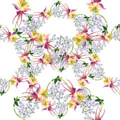 Purple ornament. Floral botanical flower. Watercolor background illustration set. Seamless background pattern.