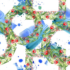 Red floral botanical flower. Watercolor background illustration set. Seamless ornament background pattern.