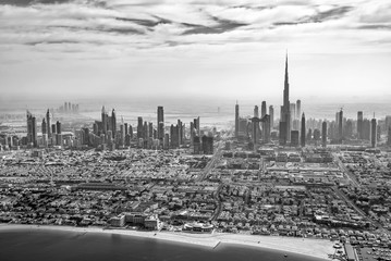 Aerial view of Dubai skyline in black and white, United Arab Emirates