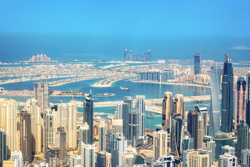 Foto auf Acrylglas Mittlerer Osten Aerial view of Dubai Marina skyline, Palm Jumeirah in the background, United Arab Emirates