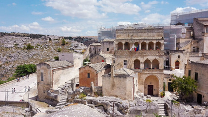 View on white houses of Matera city