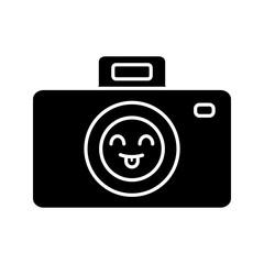 Smiling photo camera glyph icon