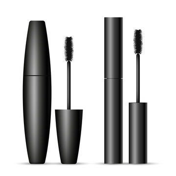 Set of two black mascara containers opened and closed isolated on white background