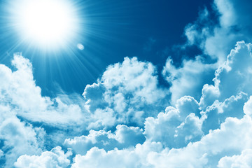 Beautiful blue sky white cloud and sunshine. Religion concept heavenly background. Divine heavenly light. Sunny day. Peaceful nature background