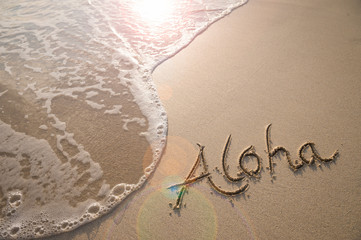Aloha tropical vacation message handwritten on a smooth sand beach with incoming wave