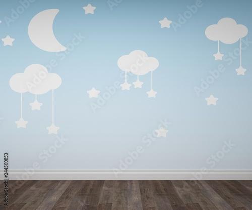 Empty baby bedroom with balloons wallpaper and parquet floor