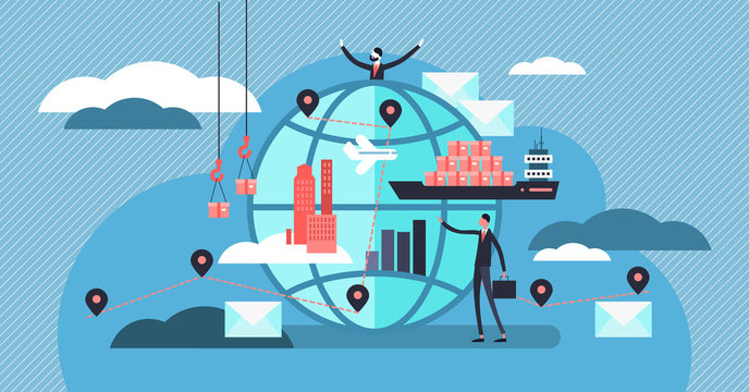 Logistics vector illustration. Tiny persons with shipment business concept.