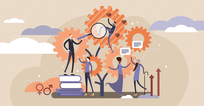 Sociology vector illustration. Flat tiny scienece ethnical persons concept.