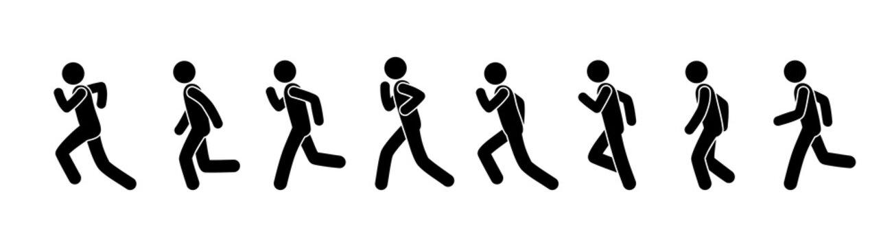 man runs frame motion, stick figure people