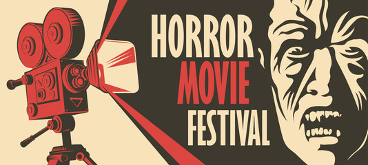 Vector banner for a festival horror movie. Illustration with old film projector and face of a creepy zombie. Scary cinema. Horror film night. Can be used for advertising, banner, flyer, web design