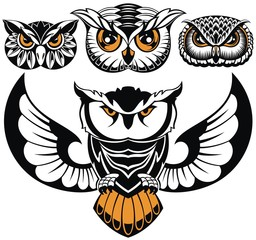 Owl logo set. Emblem designs