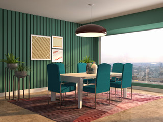 Interior dining area. 3d illustration
