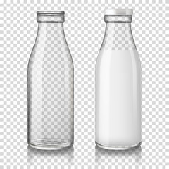 Realistic transparent empty and full (with milk) glass bottles, isolated on transparent background.