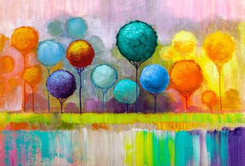 Obraz Round trees, painting. - fototapety do salonu