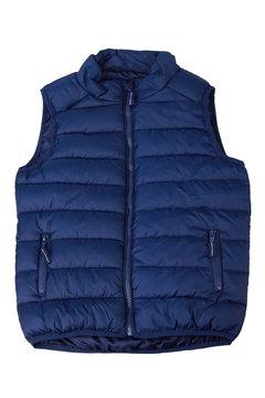 Blue vest isolated on the white background. Padded sleeveless jacket isolated