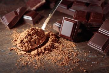 Broken  chocolate pieces and cocoa powder .
