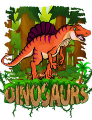 Spinosaurus on the background of the forest. Vector logo. Dinosaur world