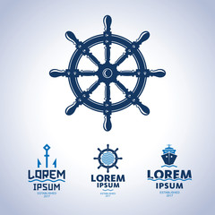 Sea logo. Ship emblem