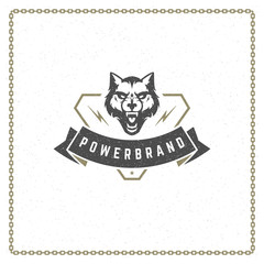 Wolf head predator badge or emblem vector illustration.