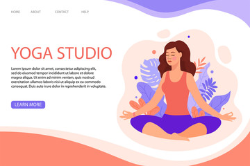 Creative web page template of Yoga Studio. Modern flat design concept of web page design for website. Woman does yoga exercise, yoga pose