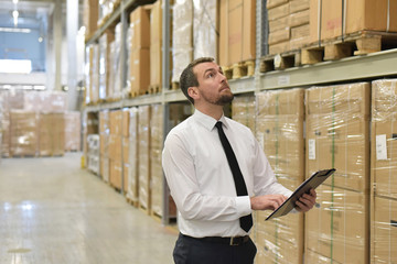 Geschäftsmann im Warenlager einer Logistikfirma // businessman in the warehouse of a logistics company