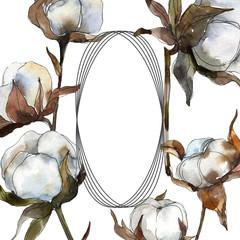 Cotton floral botanical flower. Watercolor background illustration set. Frame border ornament square.