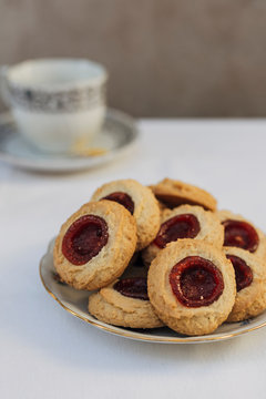 Thumbprint cookies filled with strawberry jam