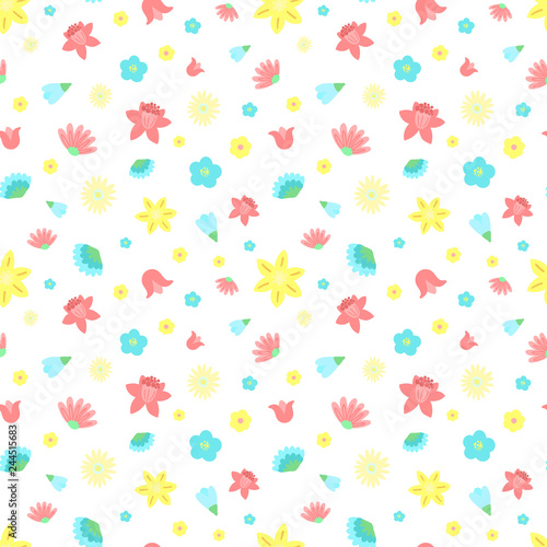 Easter seamless pattern of colorful flowers on a transparent