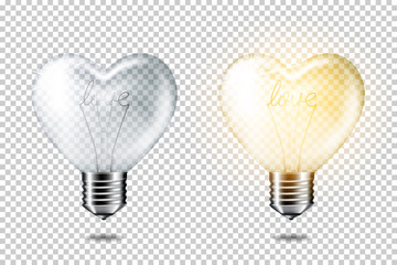 Wall Mural - Transparent realistic light bulb heart shape with words love set, isolated.