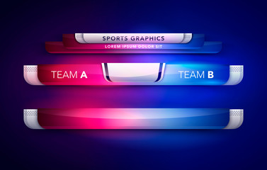 Vector Illustration Scoreboard Team A Vs Team B Broadcast Graphic And Lower Thirds Template For Sport, Soccer And Football