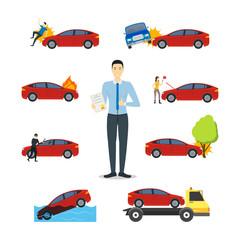 Cartoon Car Insurance Signs Icon Set. Vector