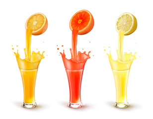 Juices in a glass. A splash of citrus juice. Grapefruit, lemon, orange. Vector realistic illustration on white background.