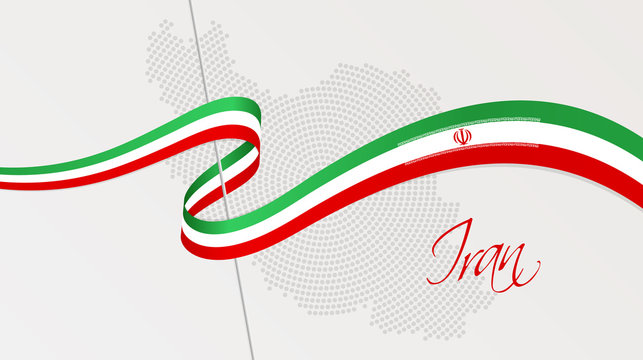 Wavy national flag and radial dotted halftone map of Iran