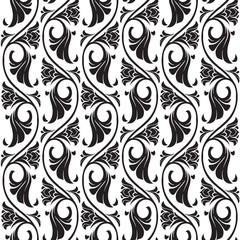 Gothic floral seamless pattern. Vertical rhythm. Popular motiff in Medieval european art. Element for designing medieval style textile, prints and illustrations. Black and white EPS 10 vector
