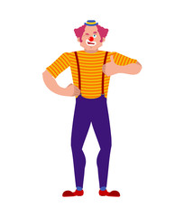 Clown winks and thumb up. Happy funnyman. Merry harlequin. Vector illustration