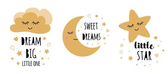 Kids posters set. Childish typography print room decoration Dream big Black gold Vector Illustration