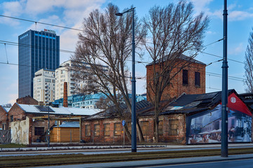 Warsaw, Poland - March 05, 2017: View of Warsaw in the springtime - old and new buildings