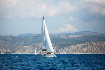 Wall Mural - Sailing yachts in the Aegean sea, Greece.