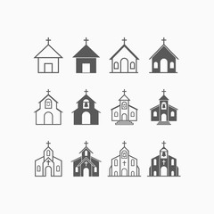church icon set, church vector