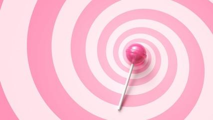 Sweet lollipop on stick on pink spiral background