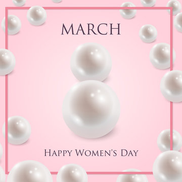 8 March greeting card template with two shiny pearls forming number 8 and bow and ribbon on pink background with scattered pearls. International Women's day background. Vector illustration