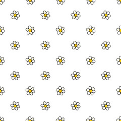 Chamomile flowers hand drawn vector seamless pattern. Nature daisies background in modern style. Floral texture for surface design, textile, wrapping paper, wallpaper, phone case print, fabric.