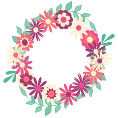 Vector floral wreath. Wreath with flowers pastel colors