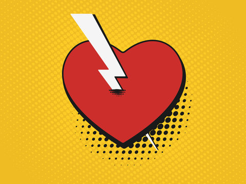 Valentine's Day comic pop art background. Retro poster heart pierced by an arrow.